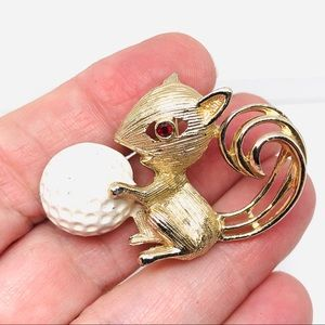 Vintage Figural Squirrel with Golf Ball Brooch Pin